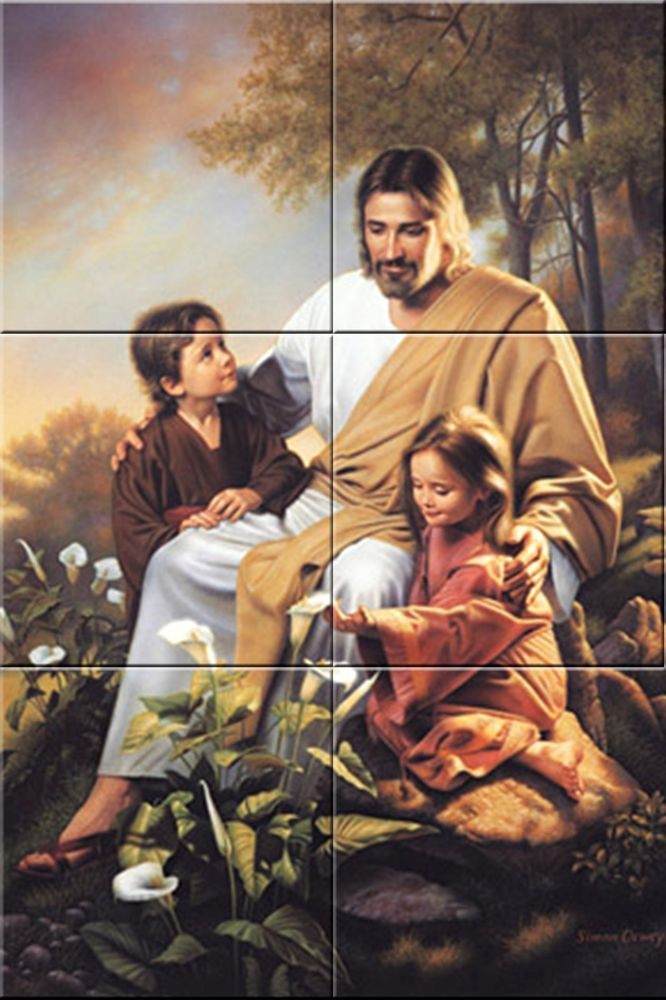 Religious tile ceramic mural Jesus Christ and children