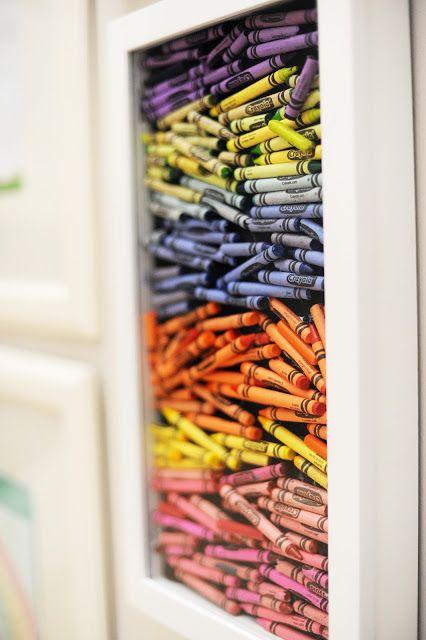 Crayon shadow box @Lauren Davison Inglis-Anderson decoration for the girls' art station?