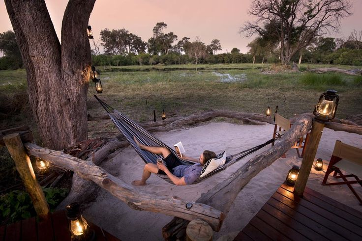 Khwai Tented Camp, Khwai Concession, Botswana. #Relax #hammock #book #lanterns #safari #escape #sunset #twilight
