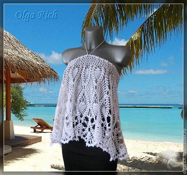 """Купить """"Love magic"""" пляжная юбочка - белый, пляжная юбка, пляжная одежда, юбка крючком"""