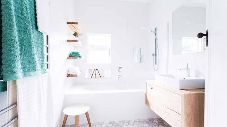 Recycled Stringybark Floating Shelves and Bathroom Vanity were featured on Reno Rumble 2015 for Nick and Chris's bathroom reveal.