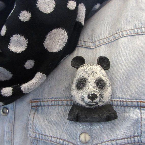 Panda brooch bearin black and whitepinbear от Chelovebriki на Etsy