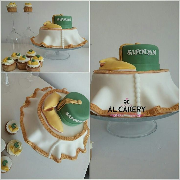 Moroccan thara cake and cupcakes white/gold/green