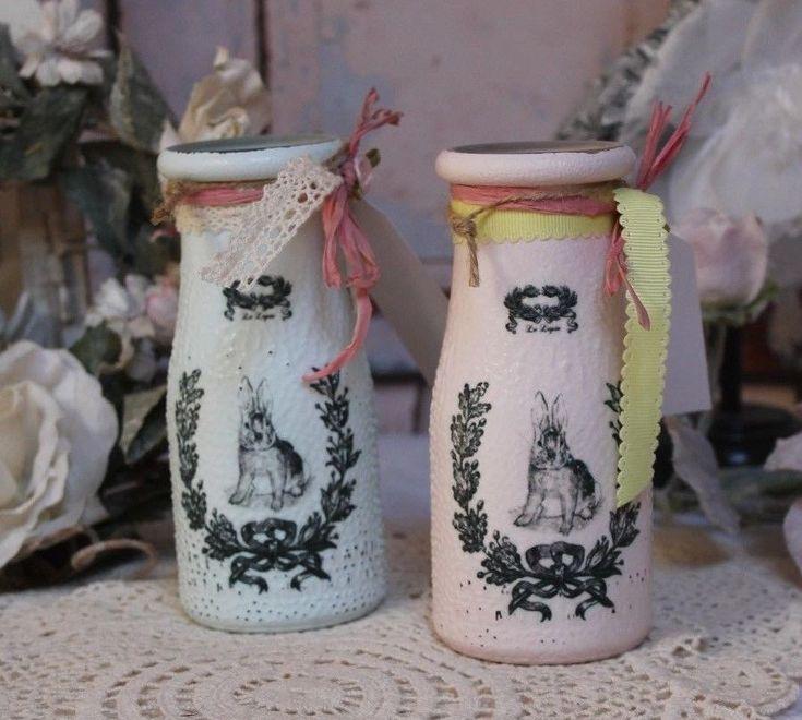 Shabby Chic Vintage French Farmhouse Distressed *Heritage Company* Milk jars  #Handmade #FrenchCountryCottageShabbyChic