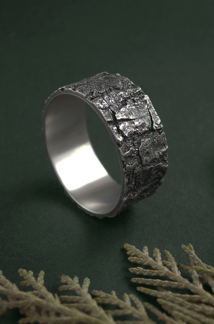 Sterling silver bark ring by Anastasia Sobkevich.  This forest inspired band is handcrafted from a real piece of bark.