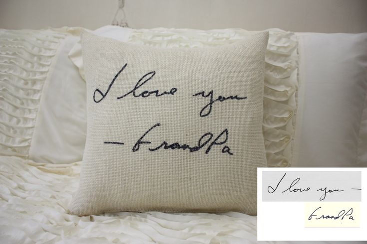 Burlap Pillow/Personalized Handwriting Pillow/Remembrance Gift - In Memory Of by HeSheChic on Etsy https://www.etsy.com/listing/208028818/burlap-pillowpersonalized-handwriting
