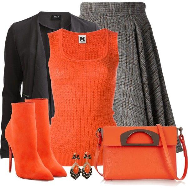 """Plaid Skirt: Orange & Grey"" by callmeadie on Polyvore"