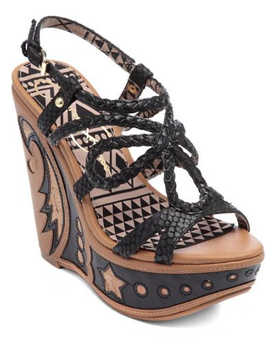Jessica Simpson Braided Leather Strappy Wedge Sandals