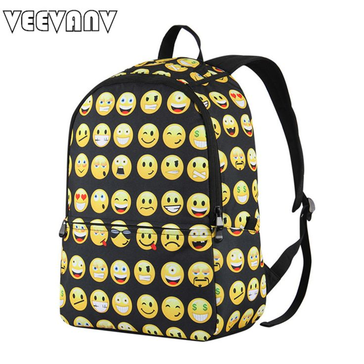 VEEVANV Brands Printing Backpacks Designer Smiley School Backpack Casual Laptop School Men's Laptop Backpacks Female Travel Bags #Affiliate