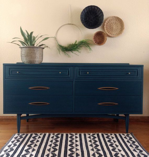Best Sold Mcm Broyhill Sculptra Walnut Dresser Navy Blue 640 x 480