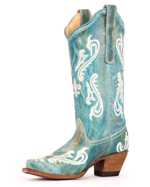 Turquoise blue leather boot with fleur de lis on the foot, shaft, and heel - AND on the sole! - from Country Outfitter