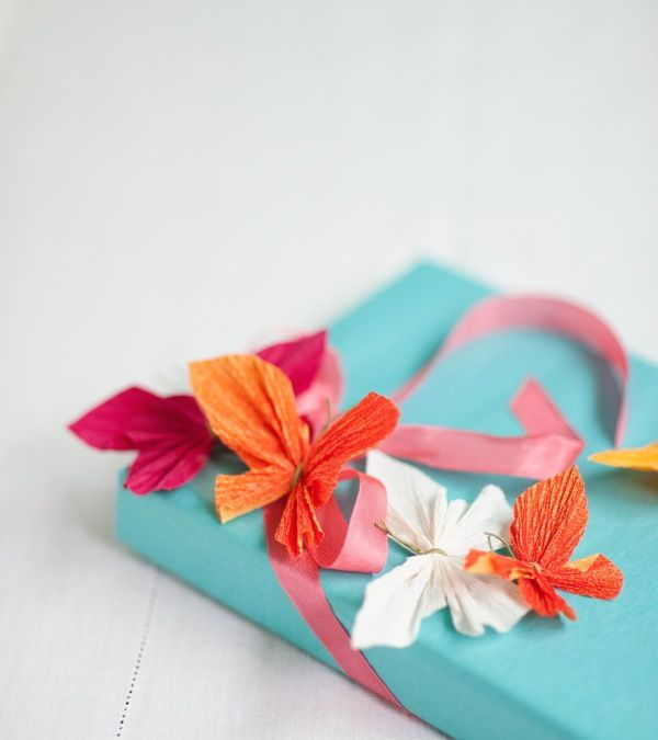 crepe paper butterflies gift wrap