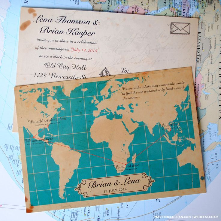 Wedding Invitations With Maps: Vintage Map Wedding Invites