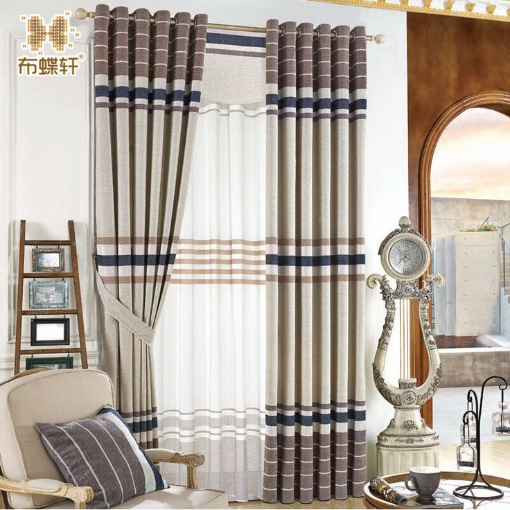 New Arrival Luxury Thick Chenille North European Curtains Striped 80% Shading Degree Blind for Study Room Fashion Grey Curtain