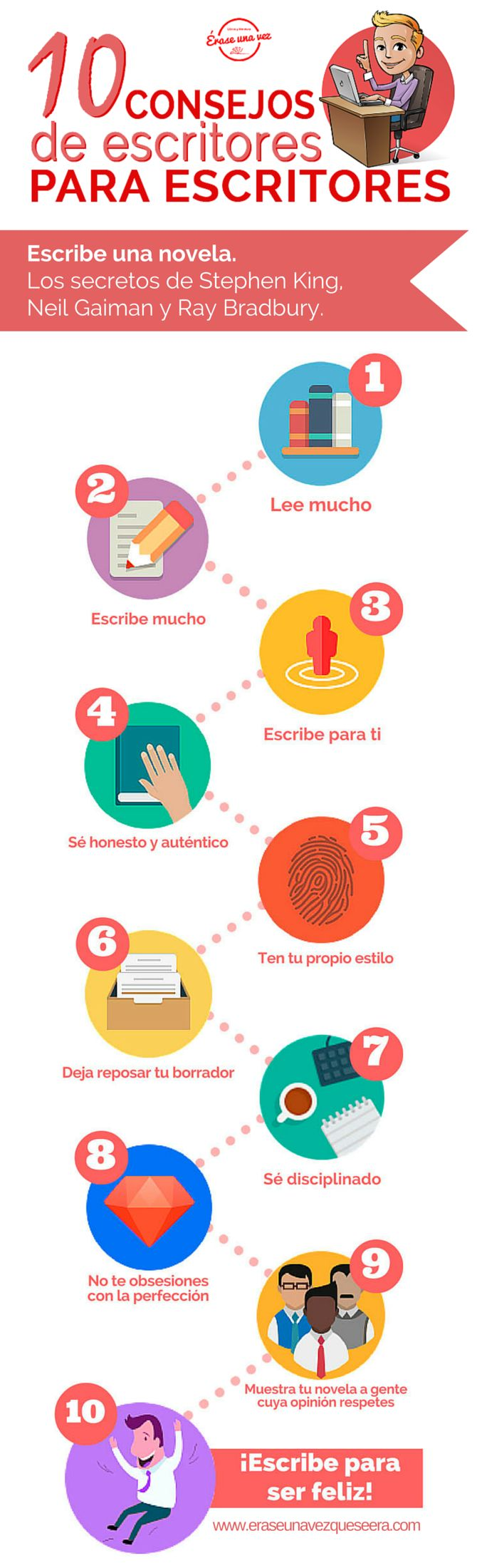 10 consejos de escritores para escritores. http://www.eraseunavezqueseera.com/2015/03/11/diez-consejos-de-escritores-para-escritores-infografia/