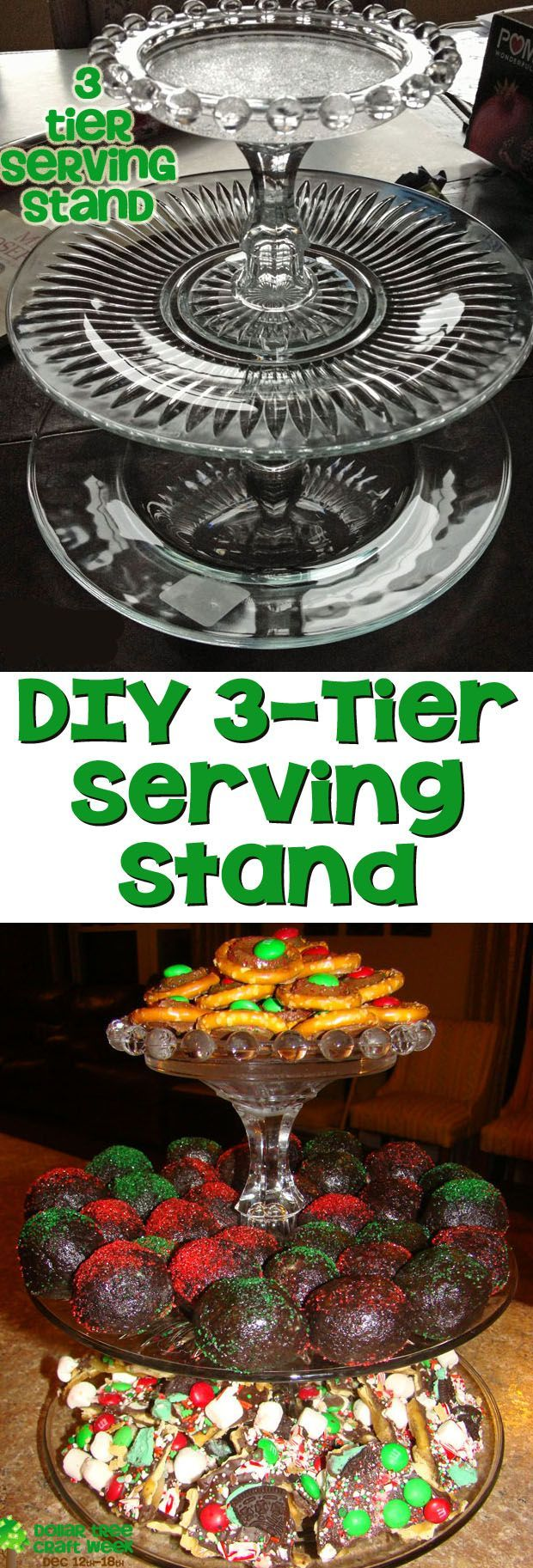 DIY 3-Tier Serving Stand - Create this DIY Serving Stand for Under $8 using items from a dollar store and glass glue. The three tiers will hold a lot of party food.