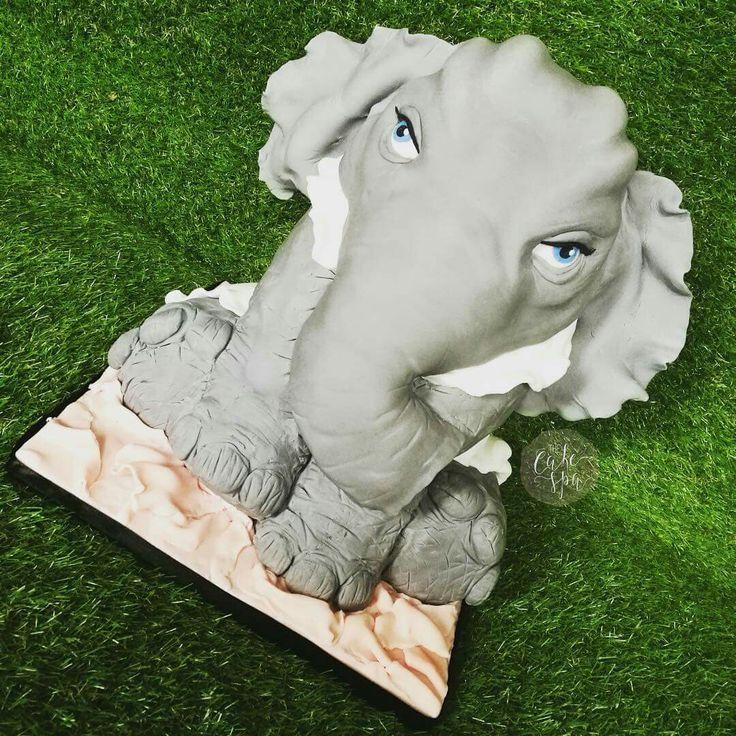 Elephant sculpted cake made of cake!
