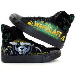 Painted Canvas Shoes World of Warcraft Mists Painted Shoes,High-top Painted Canvas Shoes