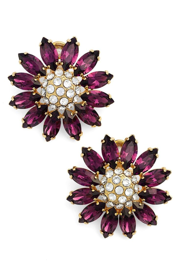Marquise-cut Swarovski crystals in beautifully saturated jewel tones form the sparkling petals of these delightfully oversized earrings plated in a warm golden finish.