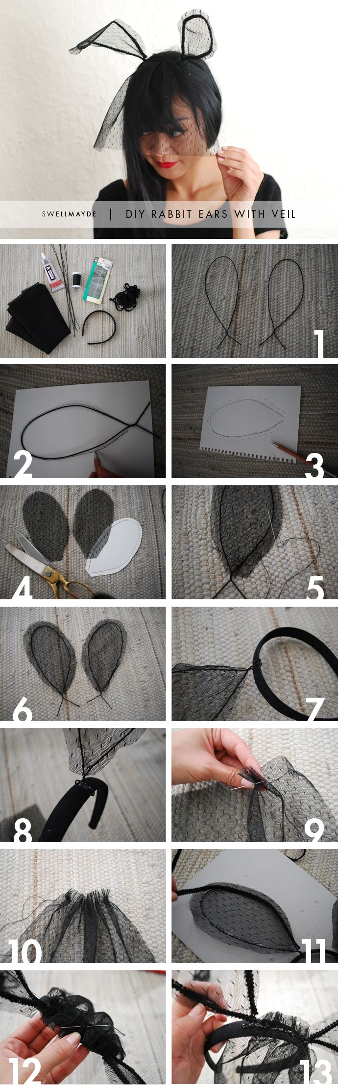 swellmayde: HALLOWEEN DIY | RABBIT EARS WITH A VEIL