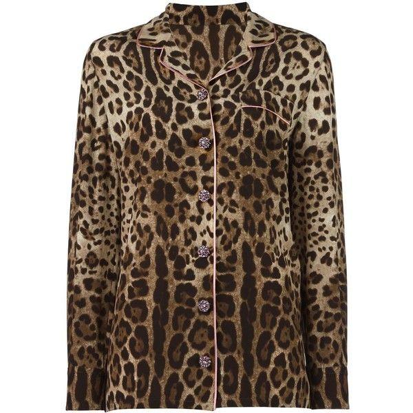 Dolce & Gabbana Leopard Print Pyjama Shirt ($2,275) ❤ liked on Polyvore featuring intimates, sleepwear, pajamas, silk leopard pajamas, leopard print pajamas, leopard print sleepwear, silk sleepwear and long sleeve pyjamas