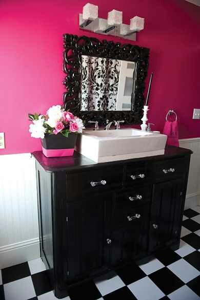 17 best images about bathroom decor ideas on pinterest for Black white and pink bathroom ideas