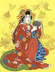 Japanese Mythology:  Goddess Ebisu is the son of Daikoku and the patron of the fishermen. He is shown with a huge carp and a rod for fishing. He was worshipped by the fishermen and had a temple in the coastal region near Osaka.