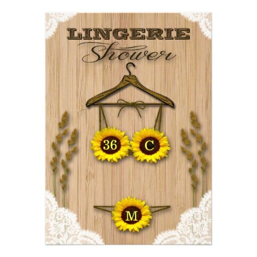 Rustic Sunflowers Country Lingerie Shower Invites