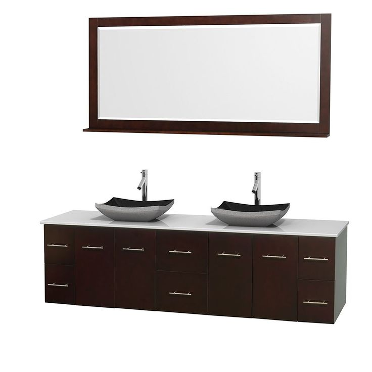 """Wyndham Collection Centra 80-inch Double Bathroom Vanity in Espresso, w/ Mirror (Black Granite, Ivory Marble or White Carrera) (80"""" Espresso,WT Stone Top,Avalon Car Sinks,70"""" Mir), Brown, Size Double Vanities"""