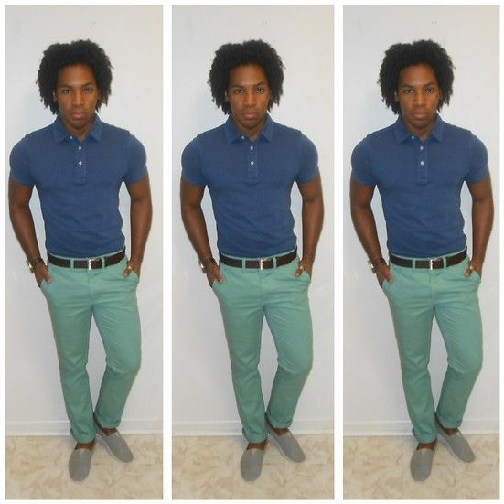 Shop this look for $79:  http://lookastic.com/men/looks/blue-polo-and-brown-belt-and-mint-chinos-and-grey-espadrilles/451  — Blue Polo  — Brown Leather Belt  — Mint Chinos  — Grey Espadrilles