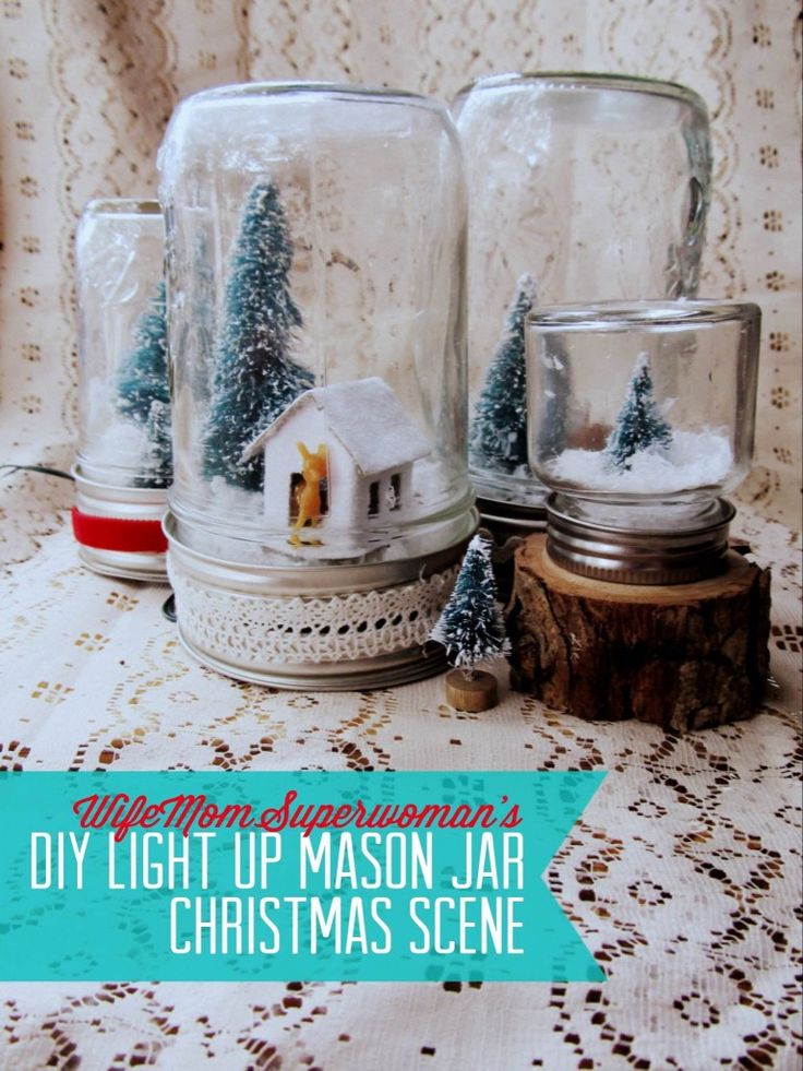 Please re-pin! DIY Light Up Mason Jar Christmas Scene ...