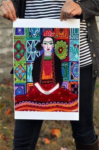 Mexican Folk Art  Frida Kahlo Talavera Tiles by HeatherGallerArt, $24.00