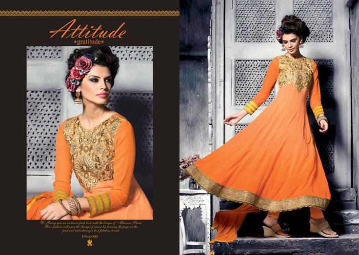 Orange Pure Georgette Cinderella Fashion Queen.  Pricing Call Us or What's App Us on :- +91 99099 59528 Visit Our Site=> #www.sareemall.in Email Us on:- support@sareemall.in