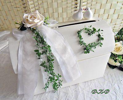 Briefbox mit Verschluß Geldgeschenk Briefumschläge Hochzeit Tauben Herz
