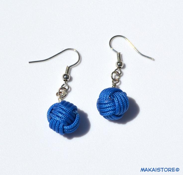 Monkey's Fist Nautical Unique Rope Ball Knot Dangle Earrings - Blue. $12.00, via Etsy.
