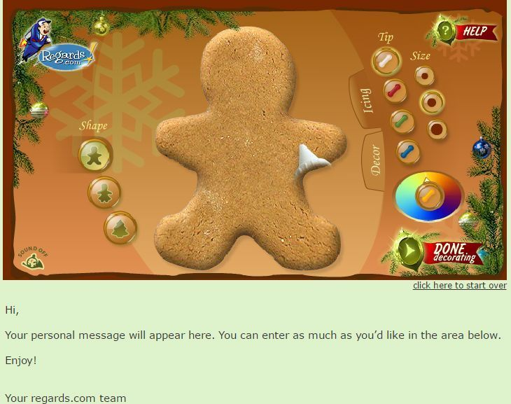 Send These Fabulous and Free Christmas Ecards for Everyone You Know: Gingerbread Cookie by Regards.com