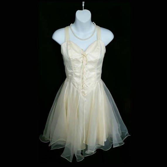 Vintage Faviana New York Creme Tulle Dress Size