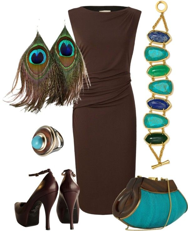 Love the idea of wearing dark brown with peacock accents. Totally great for DYT Type 3!