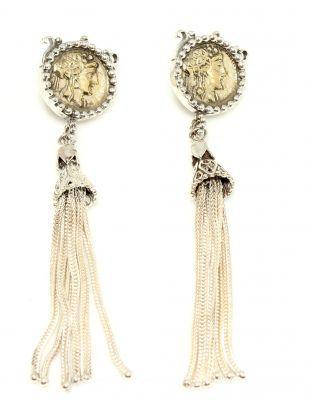 925 Ayar Gümüş ve Bronz Karışımı Antik Bizans Sallantılı Küpe