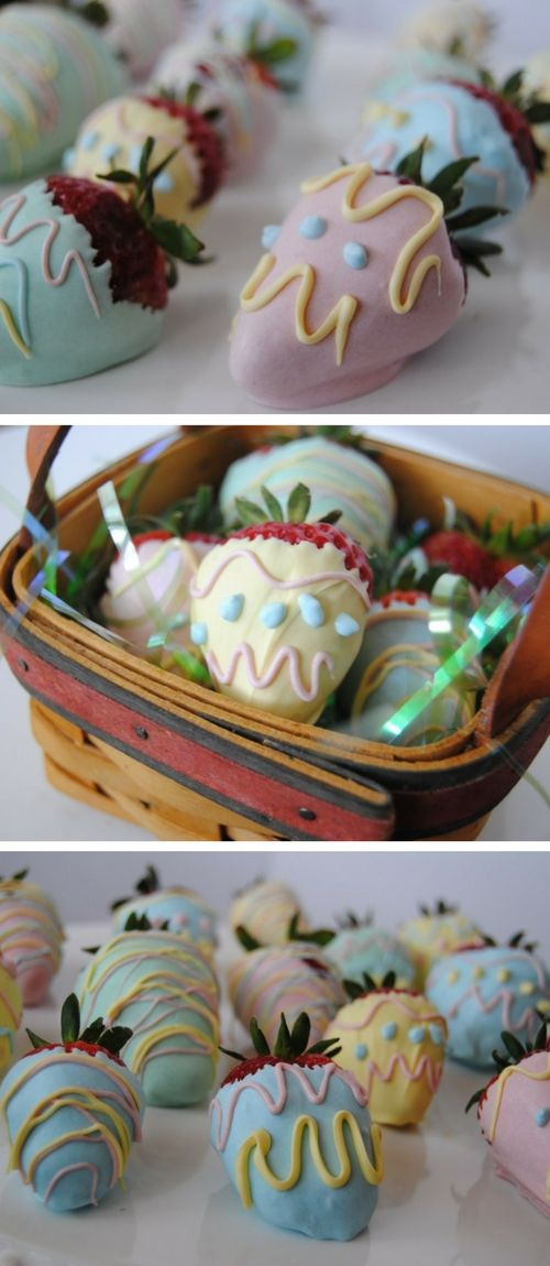 Strawberries dipped in chocolate and decorated.  A spring time favorite that's an easy DIY.  Perfect for Eater or a spring brunch.