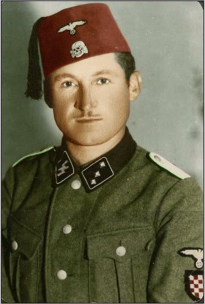 13th SS-Freiwillige-Handschar Mountain Division officer. Made up of mostly Bosnian and Croatian Muslims, they fought vs Titos Communist partisans in Yugoslavia. After the war, most were shot, drowned or sealed alive up in caves which Tito ordered to be blasted, suffocating those inside.