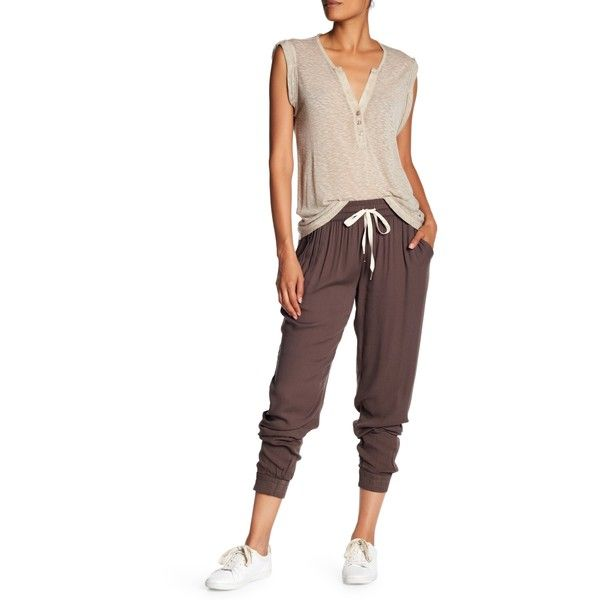 Young Fabulous & Broke Ollie Pant ($65) ❤ liked on Polyvore featuring pants, olive, ruched pants, stretch waist pants, olive green jogger pants, elastic waist pants and white jogger pants