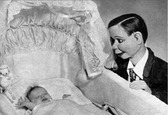 "atomic-flash:  ""Baby Candice Bergen watched over by her dad's (Edger Bergen) protege, Charlie McCarthy, 1946.  """