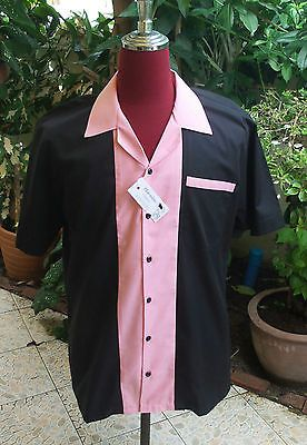 #Men's rockabilly vintage 1950's #style  retro bowling #shirt  black & pink,  View more on the LINK: 	http://www.zeppy.io/product/gb/2/112028630081/