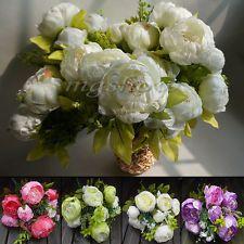 12 Heads Artificial Peony Silk Flowers Bridal Hydrangea Party Wedding Decor Home