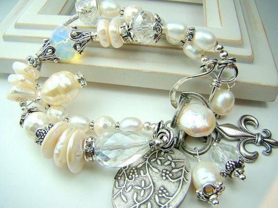 My Parisian Affair pearl crystal silver double by strandsofgrace, $64.00
