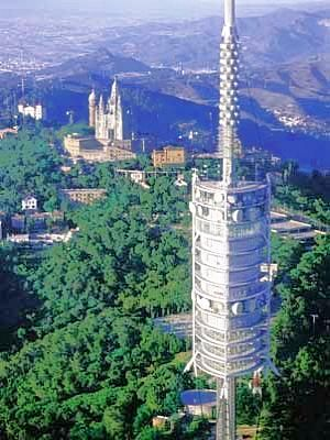 Barcelona, The media tower has glass elevators reaching the height of 1680 ft to the observation deck.