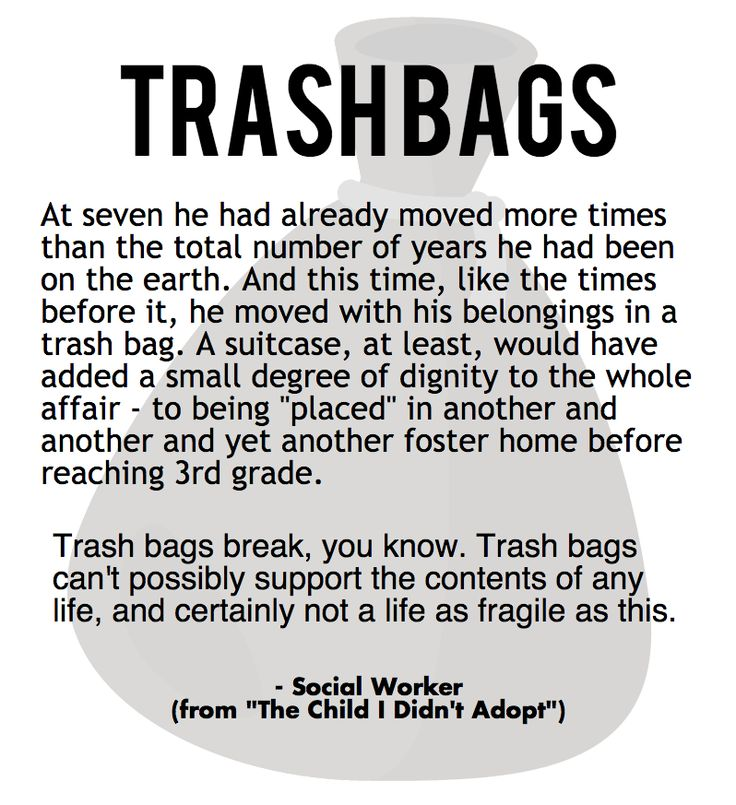 Trash Bags - a short narrative by a social worker. Foster children are given trash bags to carry their belongings in. Why not give them a suitcase? www.foreverkids.org