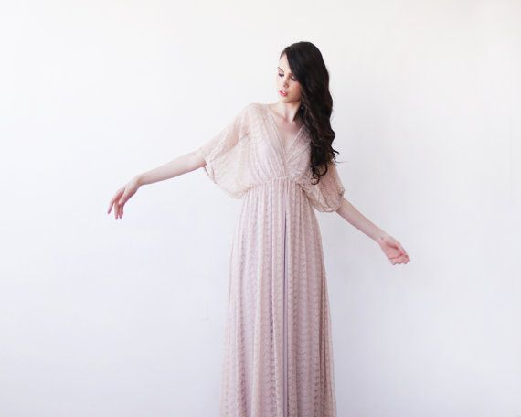 Fairy vintage Lace maxi dress with bat sleeves by BLUSHFASHION, $132.00