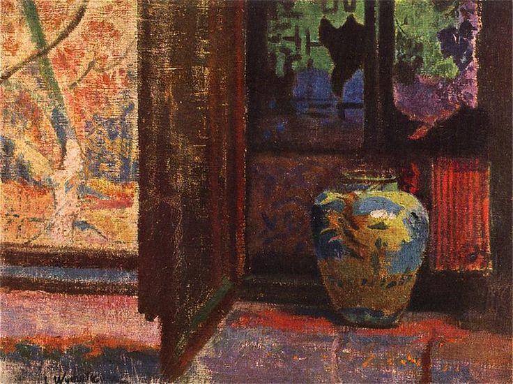 """Leon Wyczółkowski(1852-1936),""""Martwa natura z wazą i chińskim parawanem"""", 1905,"""